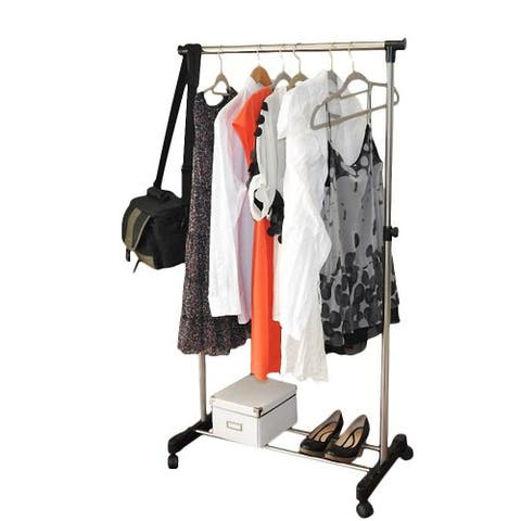 Single/Double-bar Vertical & Horizontal Stretching Stand Clothes Rack with Shoe Shelf Black & Silver
