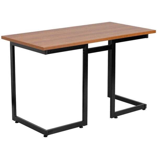 "Delacora FF-NAN-JN-2811-GG 47-1/4"" Wide Metal Framed Wood Top Computer Desk - Brown"