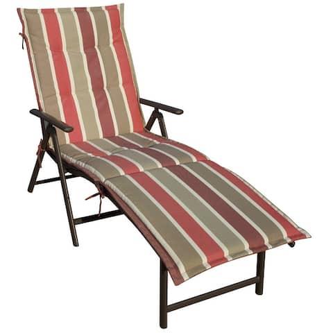 Kozyard Cozy Aluminum Beach Yard Pool Folding Reclining 7 Adjustable Chaise Lounge Chair with Cushion