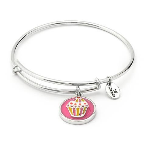 Cupcake Adjustable Charm Bangle Bracelet For Girls, Silver Rhodium