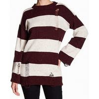 Abound Red Women's Size Large L Striped Distress Crewneck Sweater