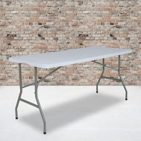 4.97-Foot Bi-Fold Plastic Folding Table with Handle - Event Table