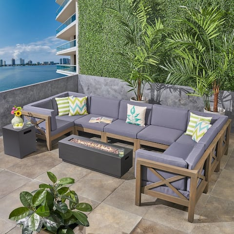 Thasos Outdoor Farmhouse Acacia Wood 8 Seater U-Shaped Sectional Sofa Set with Fire Pit by Christopher Knight Home