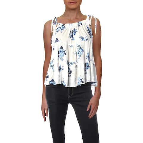 Aqua Womens Tank Top Floral Print Sleeveless
