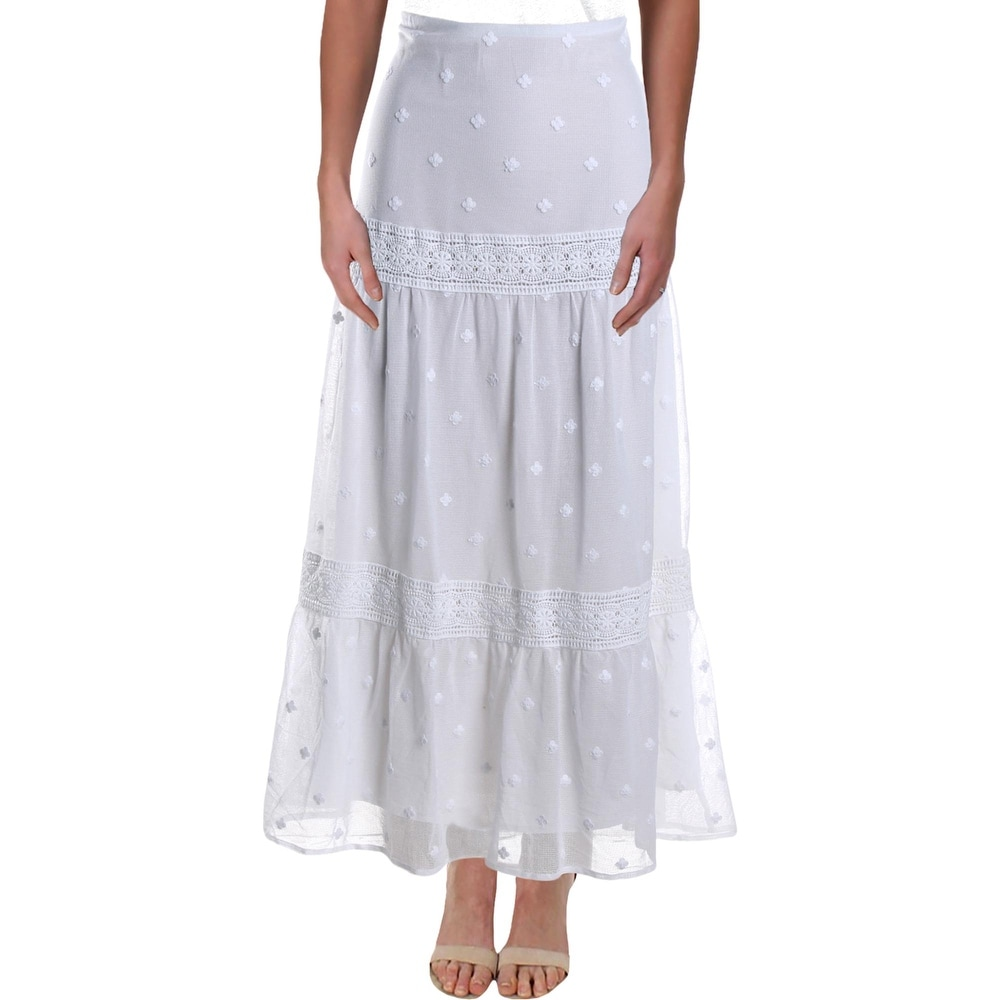 Lauren Ralph Lauren Womens Alexander Peasant Boho Skirt Floral Lace-Trim - White