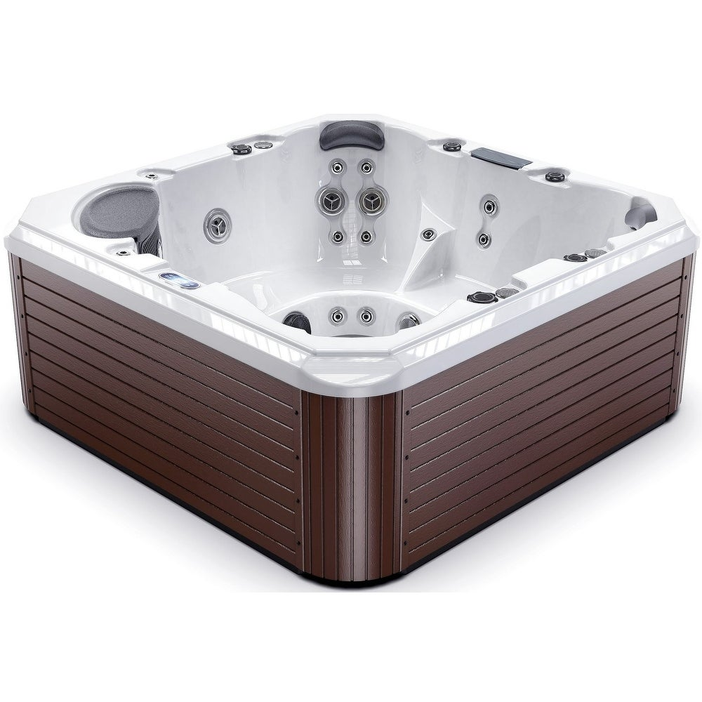 Luxuria Spas 7-Person 43-Jet Hot Tub with LED Waterfall, Silver Marble Interior