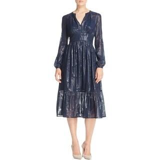 MICHAEL Michael Kors Womens Casual Dress Metallic Chiffon