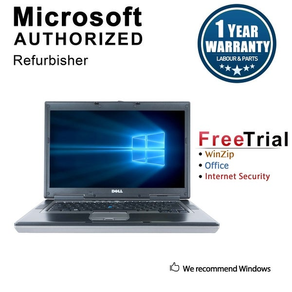 "Refurbished Dell Latitude D820 15.4"" Laptop Intel Core Duo 1.66G 2G DDR2 160G DVD Win 10 Home 1 Year Warranty - Silver"