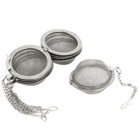 Unique Bargains 5 Pcs Chain Hook Locked Tea Ball Infuser Mesh Strainer Filter for Teapot Cup