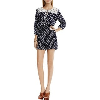 Two by Vince Camuto Womens Romper Crinkled Foulard Print