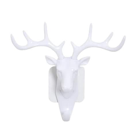 Deer Head Self Adhesive Wall Door Hook Hanger Bag Keys Sticky Holder