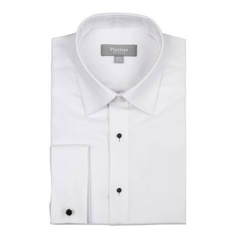 Men's Textured Regular Fit French Cuff Lay down Cotton Tuxedo Shirt