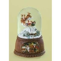2 Musical Rotating Santa Claus in Sleigh Christmas Water Globe Glitterdomes
