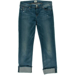 Hudson Womens Juniors Distressed Cuffed Cropped Jeans - 32