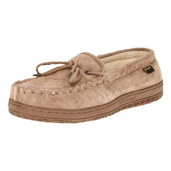 Old Friend Slippers Mens Terry Cloth Moccasin Wide Chessnut 421221