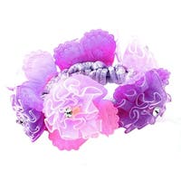Unique Bargains Floral Decor Stretchy Ponytail Holder Hairband Purple Light Pink for Girls Women