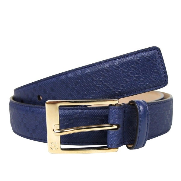 9f801e9a5c8 Gucci Men  x27 s Square Navy Blue Leather Belt With Buckle 345658 4232