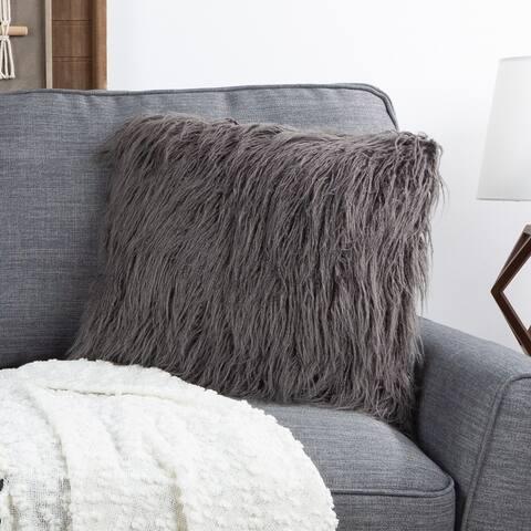 "Hastings Home 18"" Mongolian Faux Fur Pillow"