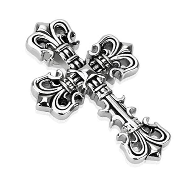 Decorative Fleur De Lis Cross Stainless Steel Pendant (32 mm Width)
