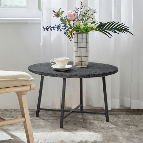 """Round Faux and Steel Patio Wood 28"""" Coffee Table All Weather Garden"""