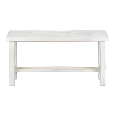 "LuxuryLivingFurniture Solid Wood 36"" Wide Loft Medium Bench, White Distressed"