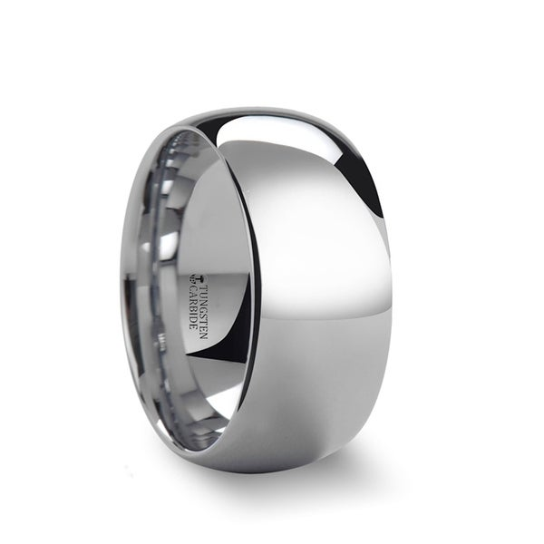 THORSTEN - ADDINGTON 10mm Domed White Tungsten Wedding Band with Polished Finish