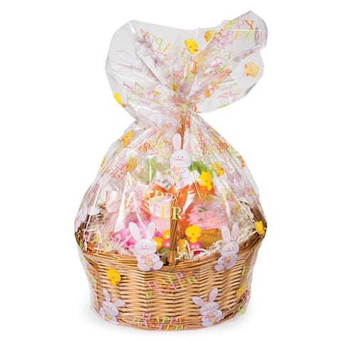 Club Pack of 12 Pink and Yellow Easter Decorative Cello Basket Bags 11