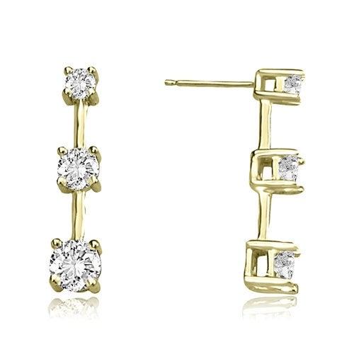 2.00 cttw. 14K Yellow Gold Classic Three-Stone Round Diamond Earrings