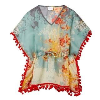Azul Girls Teal Red Sheer Floral Print Pompom Adorned Sofi Kaftan|https://ak1.ostkcdn.com/images/products/is/images/direct/1c7b00fc5dae6ab99685834834c25dd549953fe0/Azul-Girls-Teal-Red-Sheer-Floral-Print-Pompom-Adorned-Sofi-Kaftan-4-10.jpg?impolicy=medium