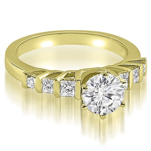 1.25 cttw. 14K Yellow Gold Round and Princess cut Diamond Engagement Ring