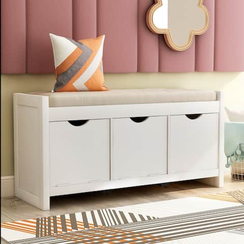 White Storage Bench with Removale Cushion