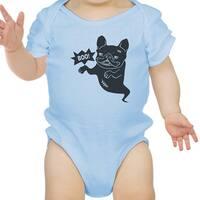 Boo French Bulldog Bodysuit First Halloween Baby Bodysuit Blue Cotton