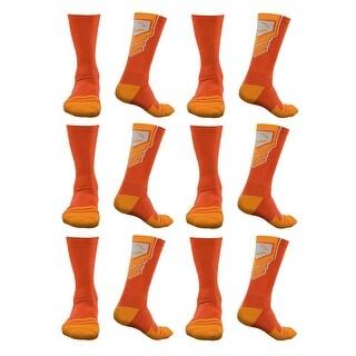 EvoShield Large Performance Crew Socks (Orange, 6-Pack)