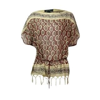 Lauren Ralph Lauren Jeans Co. Women's Belted Leaf Print Top - s
