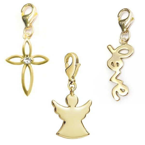Julieta Jewelry Angel, Cross, Love 14k Gold Over Sterling Silver Clip-On Charm Set