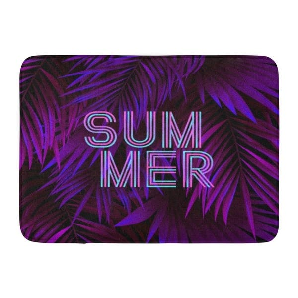 Green Tropic Neon Summer Tropical Exotic Palm Leaves And Lettering Night Tree Doormat Floor Rug Bath Mat 23 6x15 7 Inch Multi On Sale Overstock 31777115 Office worker dreaming about tropical beach. overstock com