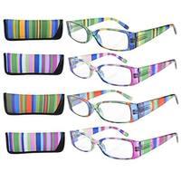 Eyekepper 4-Pack Striped Temples Spring Hinge Reading Glasses +1.5