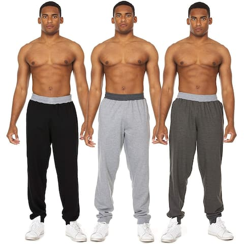 Essential Elements 3 Pack: Men's Brushed French Terry Casual Jersey Athletic Lounge Sleep Drawstring Pants with Pockets