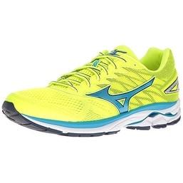 Mizuno Men's Wave Rider 20 Running Shoe, Yellow/Blue, 11.5 D US