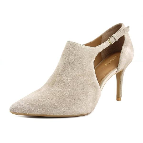 Calvin Klein Giorgia Women Pointed Toe Suede Ivory Bootie