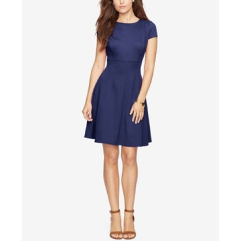 American Living Women's acquard Fit & Flare Dress Navy (2) - 2