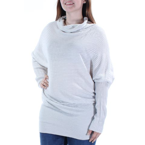 KIIND OF Womens Silver Textured Long Sleeve Cowl Neck Top Size: L