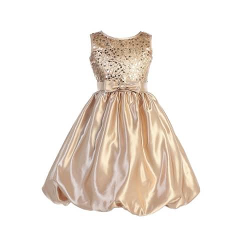 Blossom Little Girls Gold Sequined Mesh Satin Bubble Flower Girl Dress