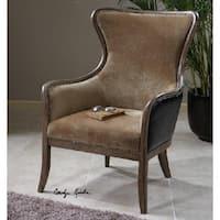 "41"" Caramel Tan Velvet Weathered Pine Wing Arm Chair - Brown"
