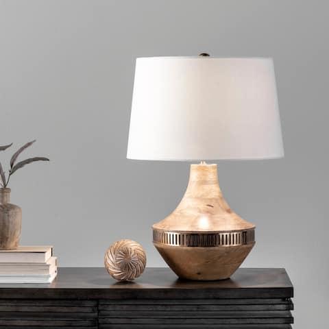 "nuLOOM Riga 20"" Wood Table Lamp - 15""W x 15""D x 20""H"