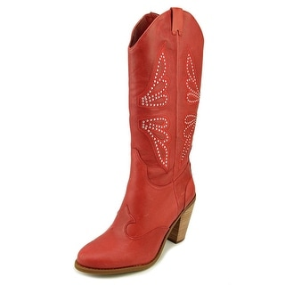 Jessica Simpson Caralee Women Round Toe Leather Red Western Boot
