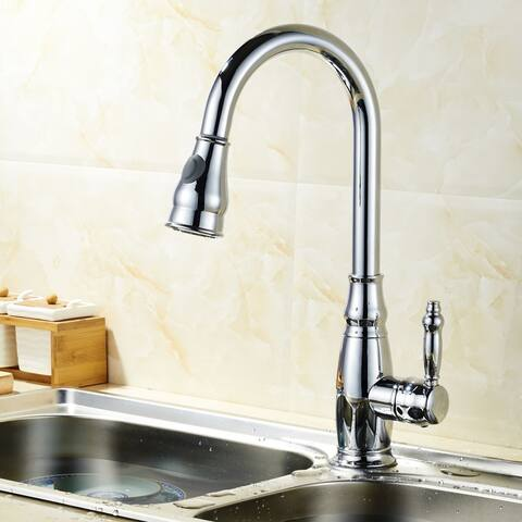 Clihome Single Handle No Sensor Pull Out Sprayer Kitchen Faucet in Chrome - 18.5x9x9