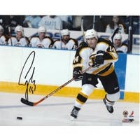 Sergei Samsonov signed Boston Bruins 8x10 Photo white jersey