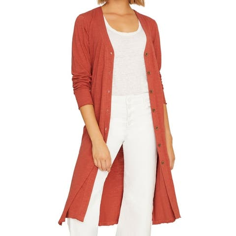 Sanctuary Women's Sweater Clay Red Size XS Button Down Cardigan Tunic
