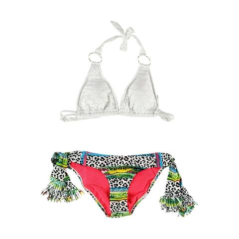Jessica Simpson Womens Lace Ruffle Side Tie 2 Piece Bikini